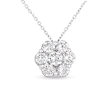 14kt White Gold 1 Carat Solitaire Diamond Cluster Pendant