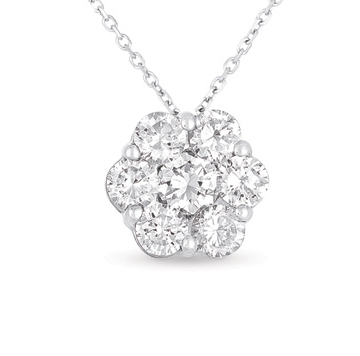 14kt White Gold 2 Carat Solitaire Diamond Cluster Pendant