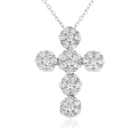 14kt White Gold 1 1/2 Carat Diamond Cluster Cross Pendant