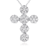 14kt White Gold 3 Carat Diamond Cluster Cross Pendant