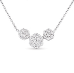 14kt White Gold 1 Carat Three Stone Diamond Cluster Pendant