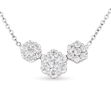 14kt White Gold 2 Carat Three Stone Diamond Cluster Pendant