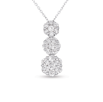 14kt White Gold 3/4 Carat Three Stone Diamond Cluster Pendant