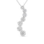 14kt White Gold 1 Carat Journey Diamond Cluster Pendant