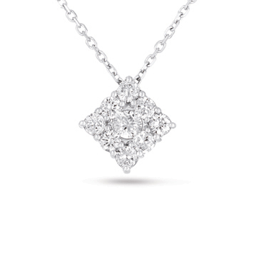 14kt White Gold 1 Carat Square Diamond Cluster Pendant