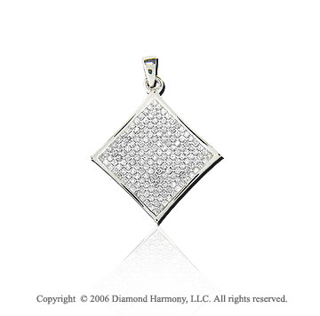 1.00  Carat Double Diamond Princess 14k White Gold Pendant