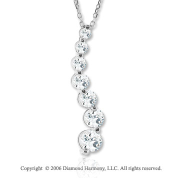 14k White Gold Curve 1.00  Carat Diamond Journey Pendant