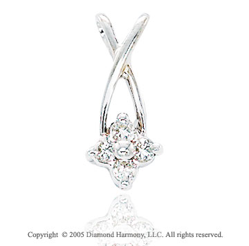 14k Diamond White Gold Criss Cross Solitaire Drop Pendant