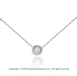 14k White Gold 1/4  Carat Bezel Diamond Solitaire Pendant