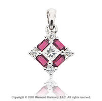 1/2  Carat Diamond Princess Ruby Baguettes Solitaire Pendant