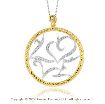 14k Two Tone Gold Braided Filigree Circle Diamond Pendant