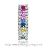 2.15  Carat Diamond Rainbow Gemstones Princess Channel Pendant
