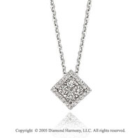 14k Diamond Vintage Style Square Deco Pendant Necklace