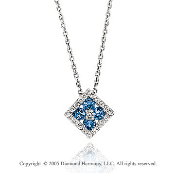 14k Diamond Blue Sapphire Deco Style Flower Pendant Necklace