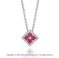 14k Diamond Ruby Deco Style Square Pendant Necklace