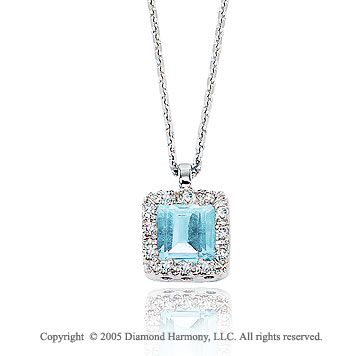 0.70  Carat 14k Diamond Aquamarine Vintage Style Princess Pendant Necklace