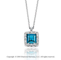 0.95  Carat 14k Diamond Blue Topaz Vintage Style Princess Pendant Necklace