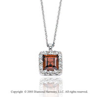 14k Diamond Garnet Vintage Style Princess Pendant Necklace