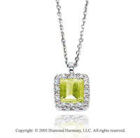 0.95  Carat Diamond Princess Peridot Solitaire Vintage Style Pendant Necklace