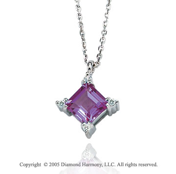1.06  Carat 14k Diamond Princess Amethyst Charm Pendant Necklace