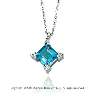 1.65  Carat 14k Diamond Princess Blue Topaz Charm Pendant Necklace