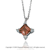 1.36  Carat 14k Diamond Princess Garnet Charm Pendant Necklace