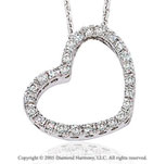 14k Diamond White Gold Swivel Heart Pendant Necklace