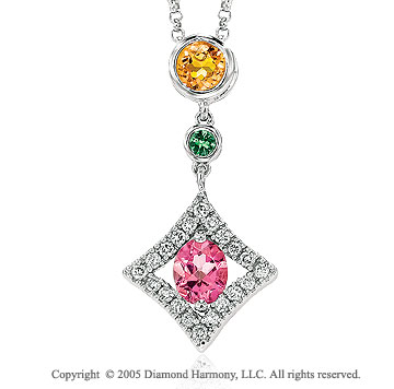 Diamond Rainbow Garnet Citrine Topaz Drop Pendant