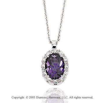 50s Style 14k Diamond Amethyst Oval Drop Pendant Necklace