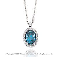 50s Style 14k Diamond Blue Topaz Oval Drop Pendant Necklace