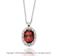 50 s Style 14k Diamond Garnet Oval Drop Pendant Necklace