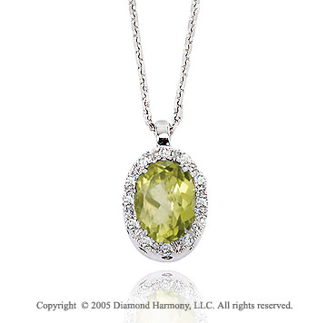 50 s Style 14k Diamond Peridot Oval Drop Pendant Necklace
