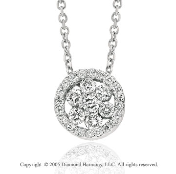 14k White Gold Flower .30 Carat Diamond Circle Pendant