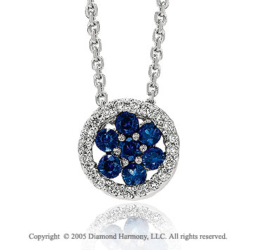 14k White Gold Flower Blue Sapphire Diamond Circle Pendant