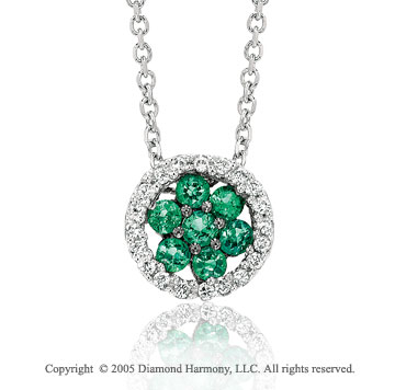 14k White Gold Flower Emerald Diamond Circle Pendant