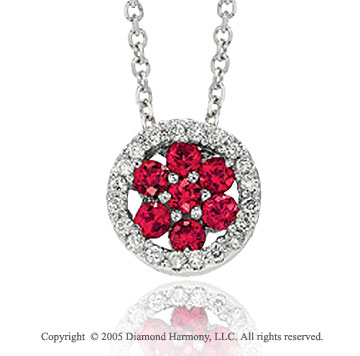 14k White Gold Ruby Vintage Style Diamond Circle Pendant