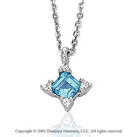 0.56  Carat 14k Diamond Princess Blue Topaz Charm Pendant Necklace