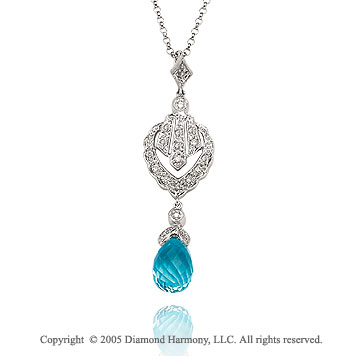 3.00  Carat Diamond Blue Topaz Vintage Deco Style Drop Pendant Necklace