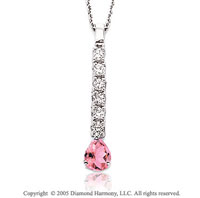 14k Diamond Pink Sapphire Tear Drop Pendant Necklace