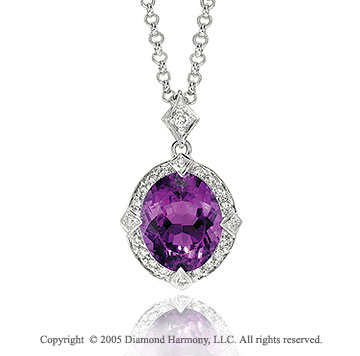 3.70  Carat Diamond Amethyst Vintage Vi Caratorian Style Necklace