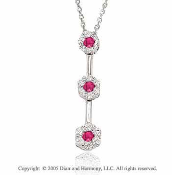 0.45  Carat Diamond Ruby Past Present Future Drop Necklace