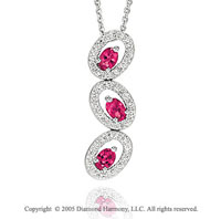0.85  Carat Diamond Ruby Oval Past Present Future Necklace
