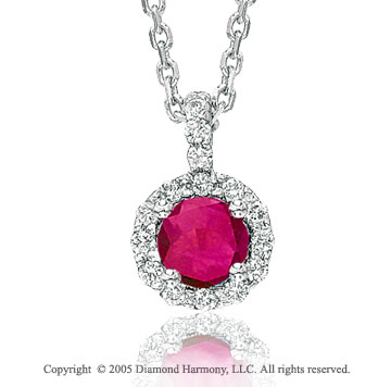 1/2  Carat 14k Diamond Ruby Solitaire Pendant