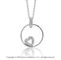 14k White Gold Open Heart Diamond Circle of Life Pendant