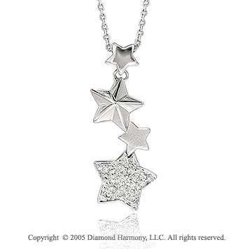 14k Diamond Pave Four Star Drop Pendant Necklace