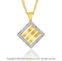 1/2  Carat Diamond Modern 14k Yellow Gold Square Pendant