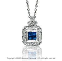 14k Diamond Pave Blue Sapphire Invisible Princess Deco Style Pendant Necklace