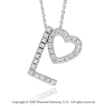 14k .30 Carat Diamond Combo Love Heart Charm Pendant