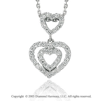 14k Diamond Triple Heart Love Pendant Necklace