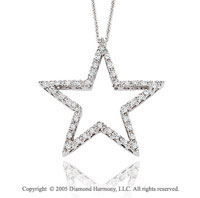 14k White Gold 1/3 Carat Diamond Open Star Pendant Necklace